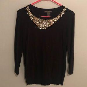 Chelsea & Theodore Jeweled Scoop Neck Sweater